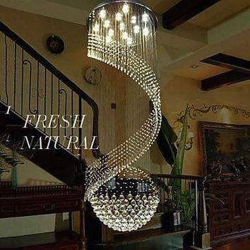 K9 Cystal Chandelier Pendant Lighting Hanging Ceiling Lamps Fixtures with LED Source Clear K9 Crystal   Free shipping