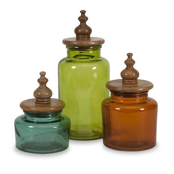 Saburo Glass and Wood Lid Canisters - Set of 3