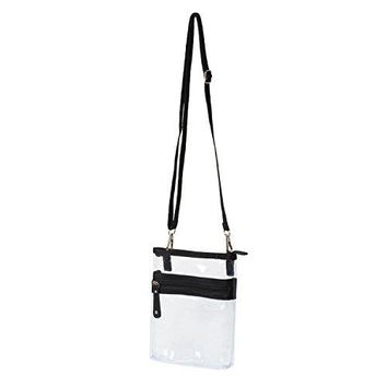 Deluxe Clear Cross-Body Bag Multi Pocket Small - NFL Stadium Approved Purse - Black