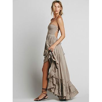 Boho Chic Backless Long Ruffle Dress (5 Colors)