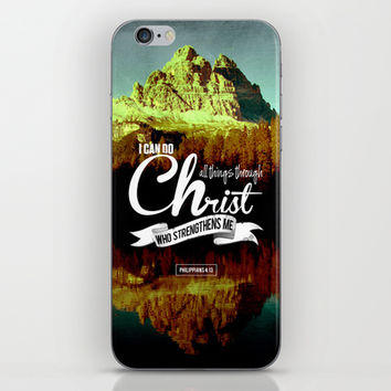 Typographic Motivational Bible Verses - Philippians 4:13 iPhone & iPod Skin by The Wooden Tree