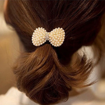 Fashion Hot Sale Korean Style Sweet Bowknot Full of Pearl Cute Bow Hairband Crystal Hello Kitty Bow Elastic Headband big size
