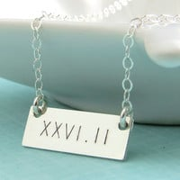 Engraved Bar, Marathon, Half Marathon in Roman Numerals, Sterling Silver, Runners Necklace, Marathon Jewelry, Running, Run Jewelry