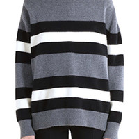Striped Long Sleeve Color Block Sweater