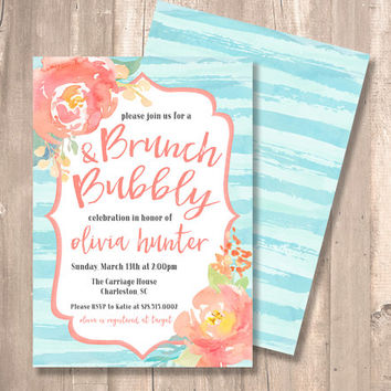 Shop bridal shower invitation coral on wanelo brunch bubbly bridal shower invitation two sided watercolor filmwisefo