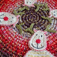 Crochet Christmas Reindeer Hot Pad