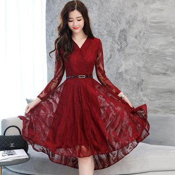 2018 New Spring Fashion Women Clothing V-Neck Hollow Out Embroidery Dress Irregular Long Sleeve Belt Lace Dresses Female