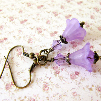 Purple Earrings, Lucite Flower Earrings, Dangling Earrings, Flower, Fuchsia, Bridesmaids Gift, Trumpet Lily Earrings