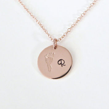 Mother's Necklace Footprint Personalized Gift Initial Necklace New Mom gift Grandmothers Gift Rose gold Sterling Silver Mommy Jewelry