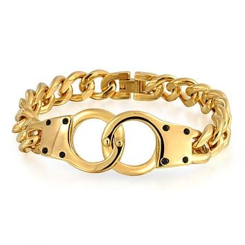 Handcuff Bracelet Partners in Crime 14K Gold Plated Stainless Steel