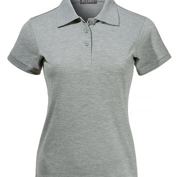 LE3NO Womens Fitted Active Short Sleeve Pique Polo Shirt with Stretch