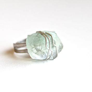 Handmade Raw Fluorite Wire Wrap Ring Silver Plated Adjustable. Crystal Mint Green Fluorite. Rough Gemstone Boho Hippie Healing Ring.
