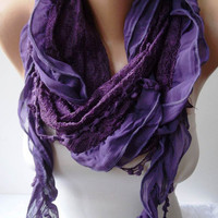 Purple Chiffon and Laced Fabric Scarf with Pompom by SwedishShop