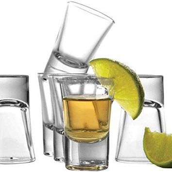 Circleware Conquer Clear Heavy Base Shot Glass Set15 Ounce Set of 6 Limited Edition Glassware Drinkware Barware Whiskey Scotch Liquor Drinking Glasses cups