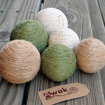 Rustic Christmas Tree Ornaments - Set of 6 Handmade Ornaments Jute Burlap Natural and Green Twine