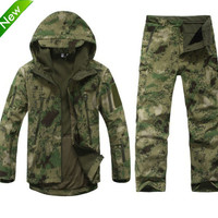 Tactical Gear Softshell Camouflage Military  Jacket Men Army Waterproof Warm Camo  Clothes Windbreaker Coat +tad pants