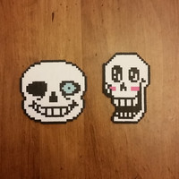 Undertale Papyrus and Sans Mini Perler Bead Sprite Magnets