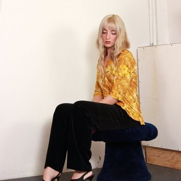 Slinky Golden Floral Button Down / S