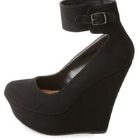 Ankle-Cuff Platform Wedge Pumps by Charlotte Russe - Black