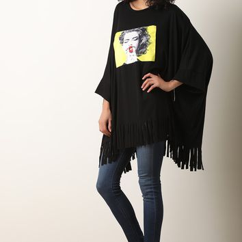Jersey Knit Graphic Fringe Poncho Top