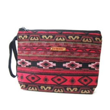 boho ethnic cosmetic bag monogrammed makeup bag hippie gypsy pencil case tribal bag wristlet american indian ikat purse personalized gift