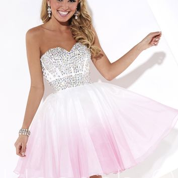 Hannah S 27916 Strapless Ombre Dress