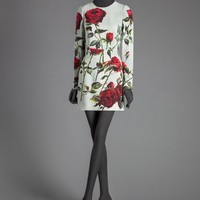 Rose print cady sheath dress | dolce&gabbana online store