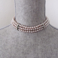 Vintage 1950's Pearl Rhinestone Choker Necklace