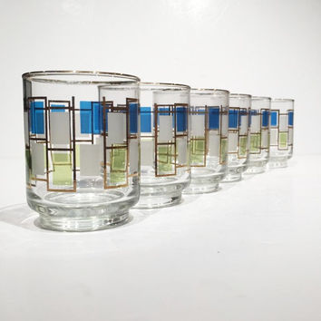 Libbey Nordic Pattern Retro Tumblers, Mini Tumblers, Mid Century Rocks Glasses Set of 6