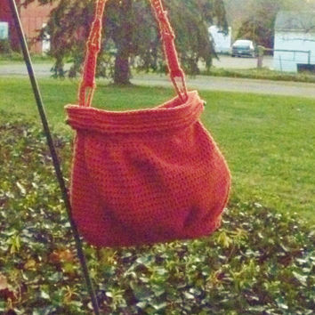 Purse/Shoulder Bag - Crochet Burnt Orange Earth Tone