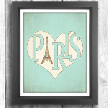 Paris Poster, Typographic print, Vintage poster, Eiffel Tower print, retro print, wall decor, Digital print, Teal Sign - 11x14 - Typography