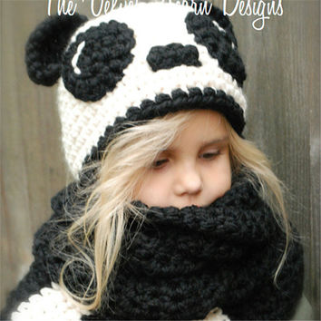 Children Hats Scarf Knit Cartoons Panda Set Winter Beanie Baby Kid Animal Warm Cat Hat Hooded Scarf Earflap Knitted Wool Gift [9699363279]