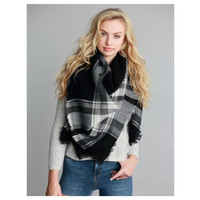 """Always My Style"" Huge Cozy Black, White  Plaid Blanket Scarf"