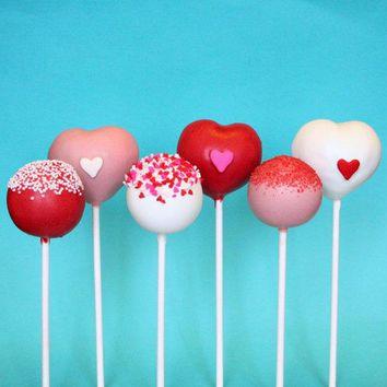 6 Valentine Assorted Heart & Sprinkle Cake Pops For Valentine's Day Party Or Wedding Favor Teacher Gift Gift For Guy Or Girl Pink Red