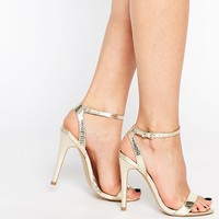Head Over Heels By Dune Madame Gold Barely There Heeled Sandals