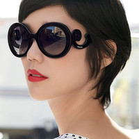 Prada Inspired Retro Black Baroque Sunglasses