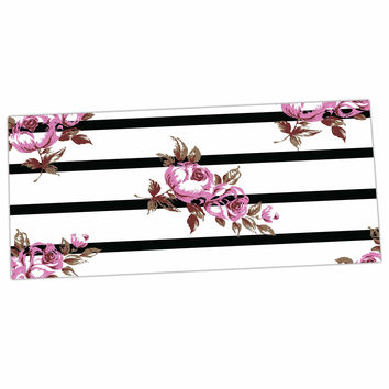 "NL Designs ""Purple Floral Stripes"" Black White Desk Mat"