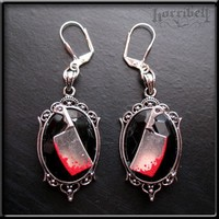 Gothic Bloody Meat Cleaver Earrings