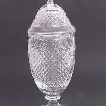 Signed Kosta bod a cross cut glass Crystal sq base Pedestal lid urn Sweden BH787