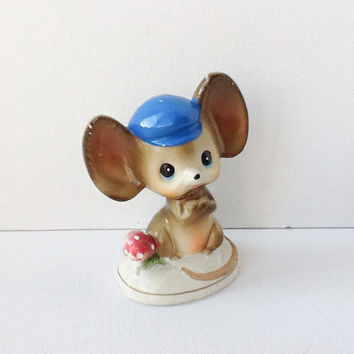 Cute Mid Century Mouse Figurine, Kitsch Ceramic Mouse with Big Ears, 1950s / 60s, 00395