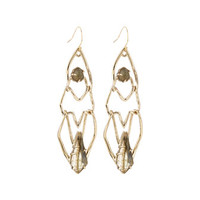 Geo Link Drop Earrings, Green