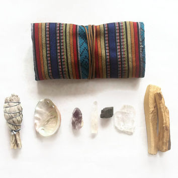 Large Ceremonial Travel Altar Kit: Andean fabrics with palo santo, sage and selenite// free shipping, ceremony, smudge, smudging