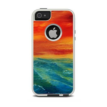 The Abstract Sunset Painting Apple iPhone 5-5s Otterbox Commuter Case Skin Set