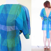 Vintage 50's 60's emerald green open back ribbon batwing sleeves cocktail wedding party plaid check silk mini dress
