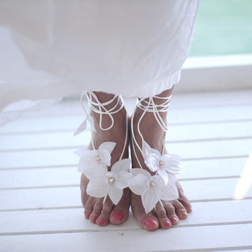 White Orchid barefoot sandal, beach wedding barefoot sandals, bangle, wedding anklet,nude shoes