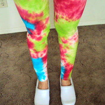 Yoga Leggings Hand Painted Yoga Pants Women's Psychedelic Tie Dye Leggings Fashion Accessories Workout Pants Beach Pants Only ONE Avaliable