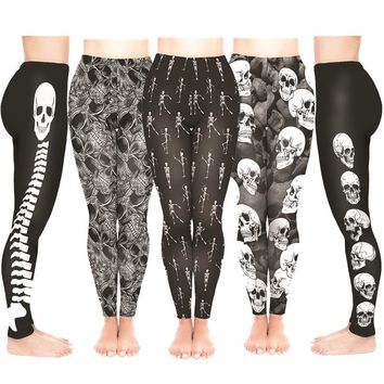 High Waist Fitness Leggings 5 Style Skulls Skeleton Print Women Leggings