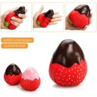 New 12CM Jumbo Chocolate Jam Strawberry Phone Straps Squishy Slow Rising Straps Sweet Cream Charms Pendant Bread Kids Toy Gift