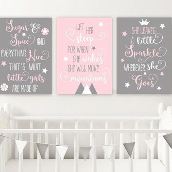 GIRL QUOTES NURSERY Decor, Pink Gray Nursery Quotes Wall Art, Sugar and Spice, Let Her Sleep, Little Sparkle, Set of 3 Canvas or Prints Art