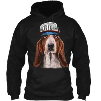Rapper Basset Hound Dog in Hip Hop Hat New York Pullover Hoodie 8 oz